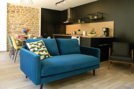 Séjour chambres d'hôtes Lorient Hennebont Auray Kervignac - Les Jardins du Cloestro - Espace commun avec cuisine salon